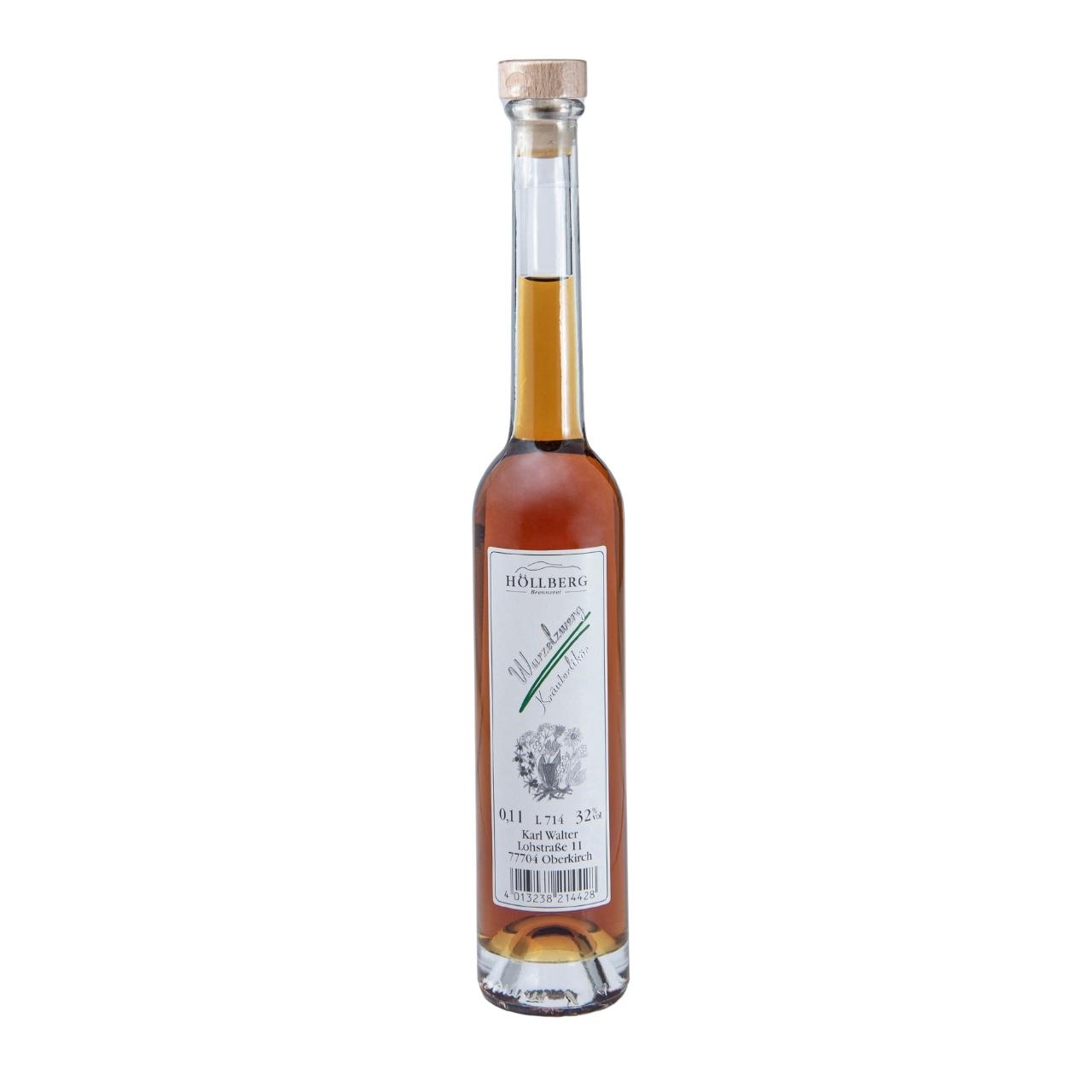 0,1 Liter Platinflasche Höllberg Wurzelzwerg Kräuterlikör