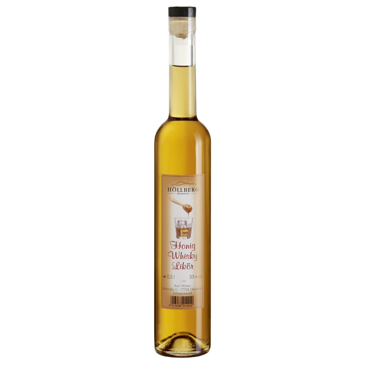 0,5 Liter Flasche Höllberg Honig-Whisky.Likör