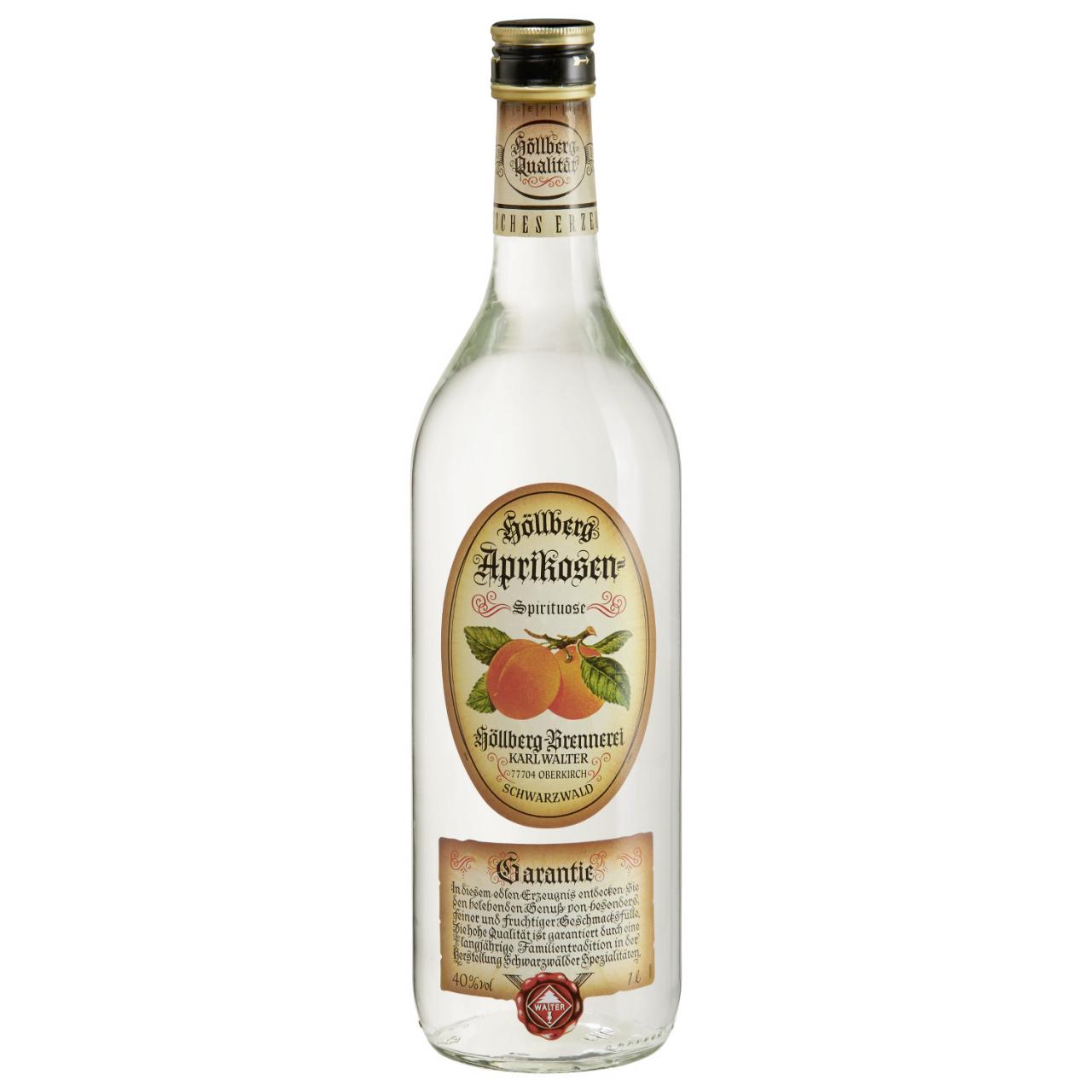 1,0 Liter Flasche Höllberg Aprikose mit einem Alkoholgehalt von 40% vol.