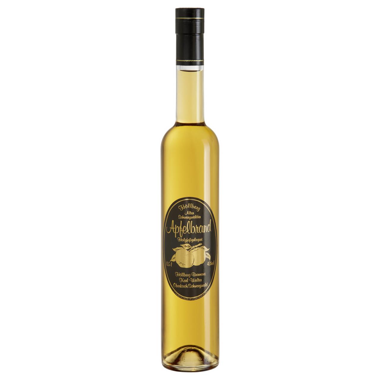 0,5 Liter Flasche Höllberg Apfelbrand mit einem Alkholgehalt von 45% vol.