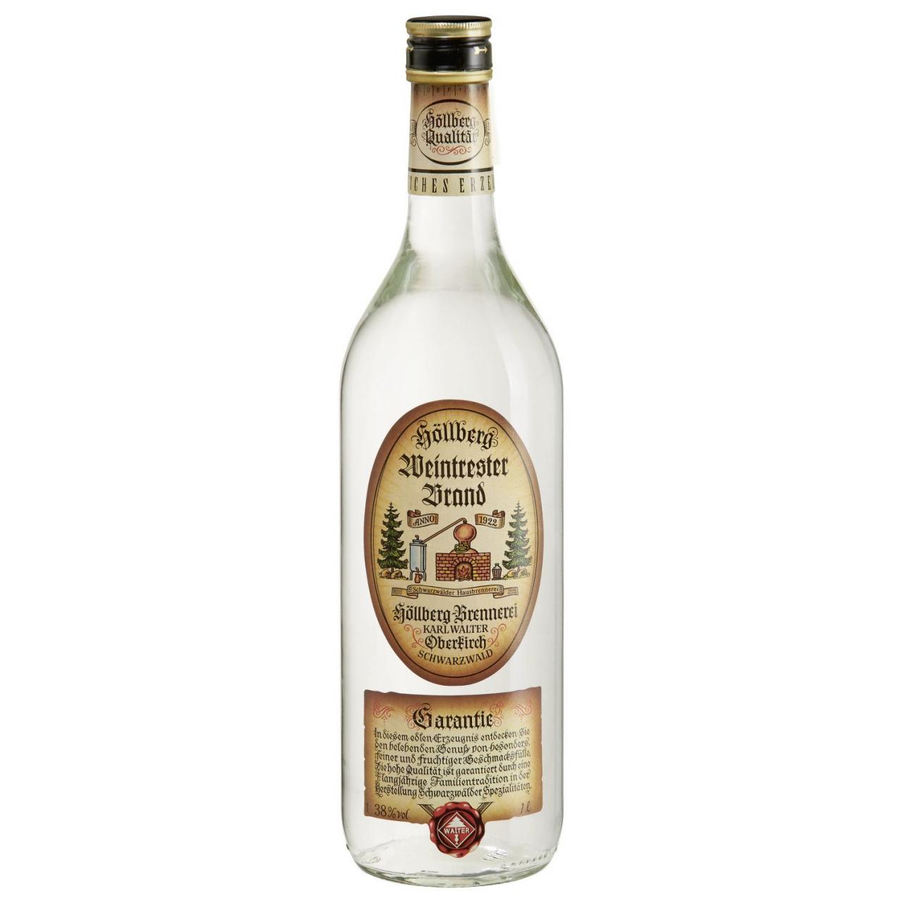 1,0 Liter Flasche Höllberg Weintrester-Brand