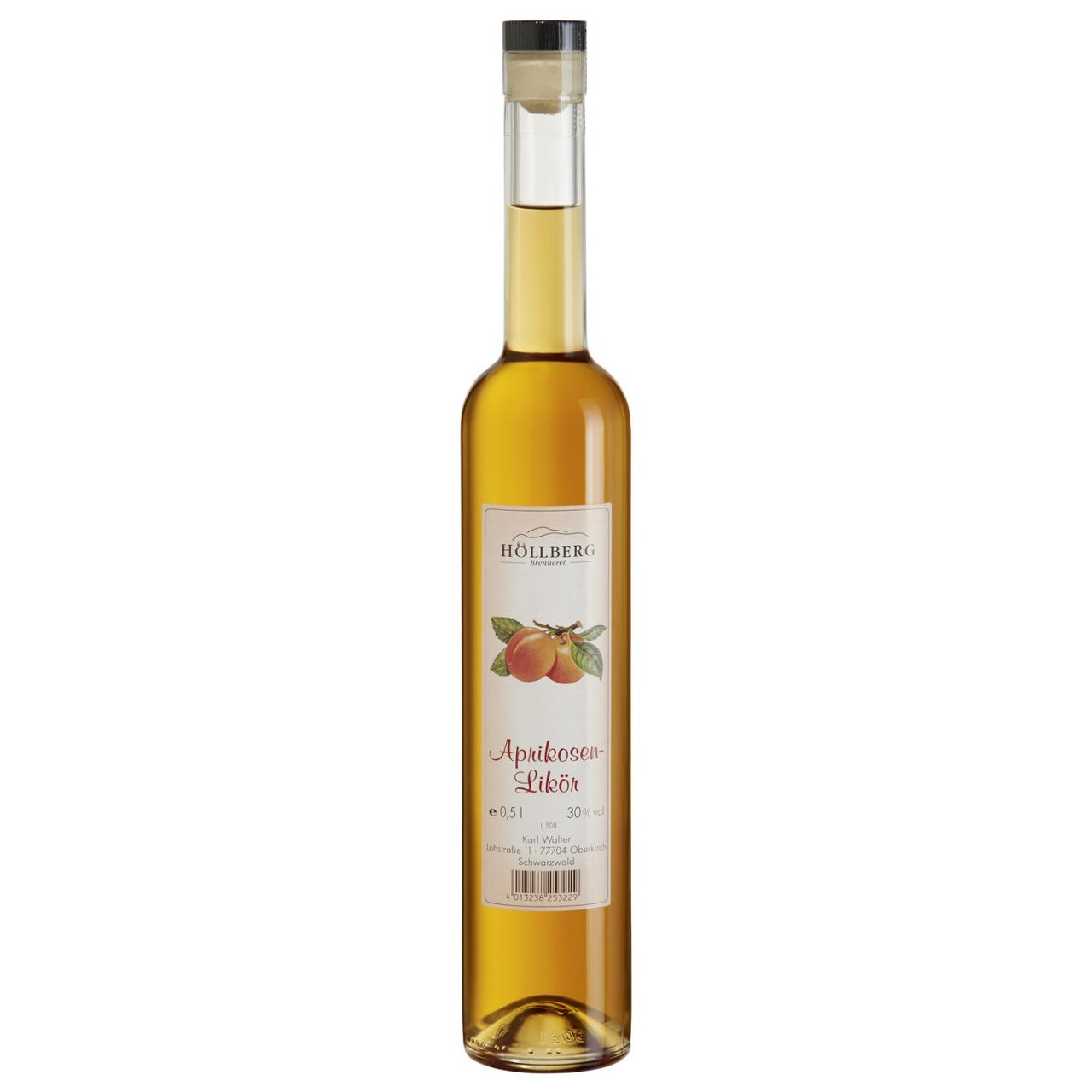 0,5 Liter Glasflasche Hoellberg Fruchtsaftlikör - Aprikösenlikör mit einem Alkoholgehalt von 30%vol.