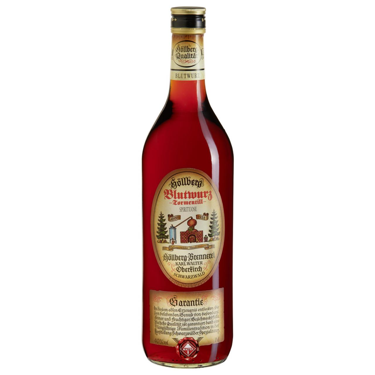 1 Liter Flasche Höllberg Blutwurz mit einem Alkohlgehalt von 40% vol.