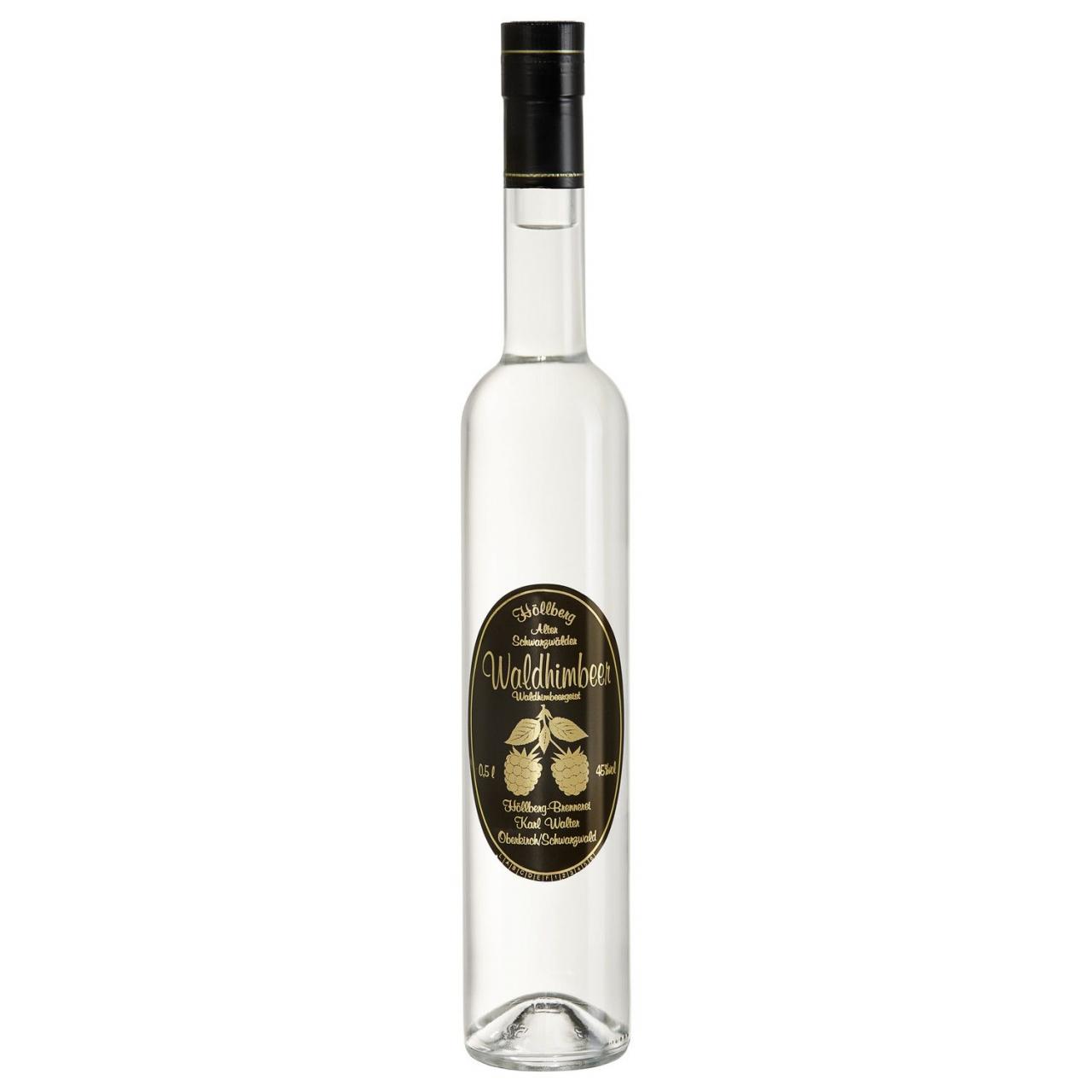 0,5 Liter Flasche Höllberg Wald Himbeere mit einem Alkoholgehalt von 45% vol.