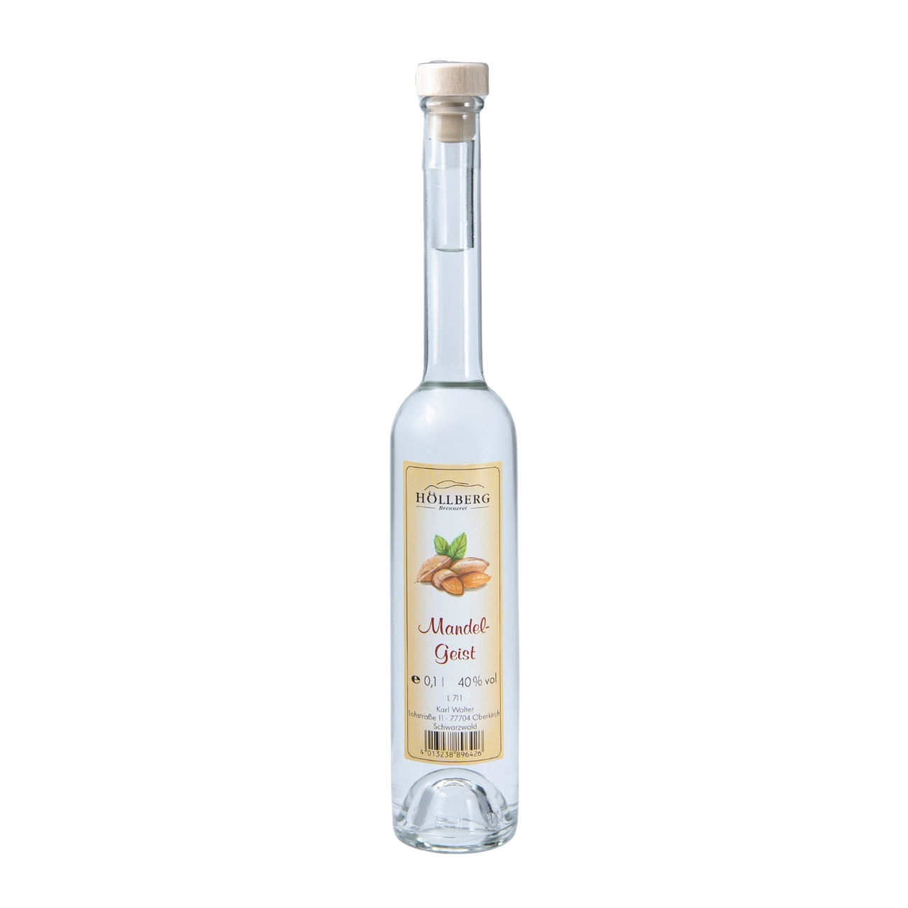 0,1 Liter Platinflasche Höllberg Mandelgeist