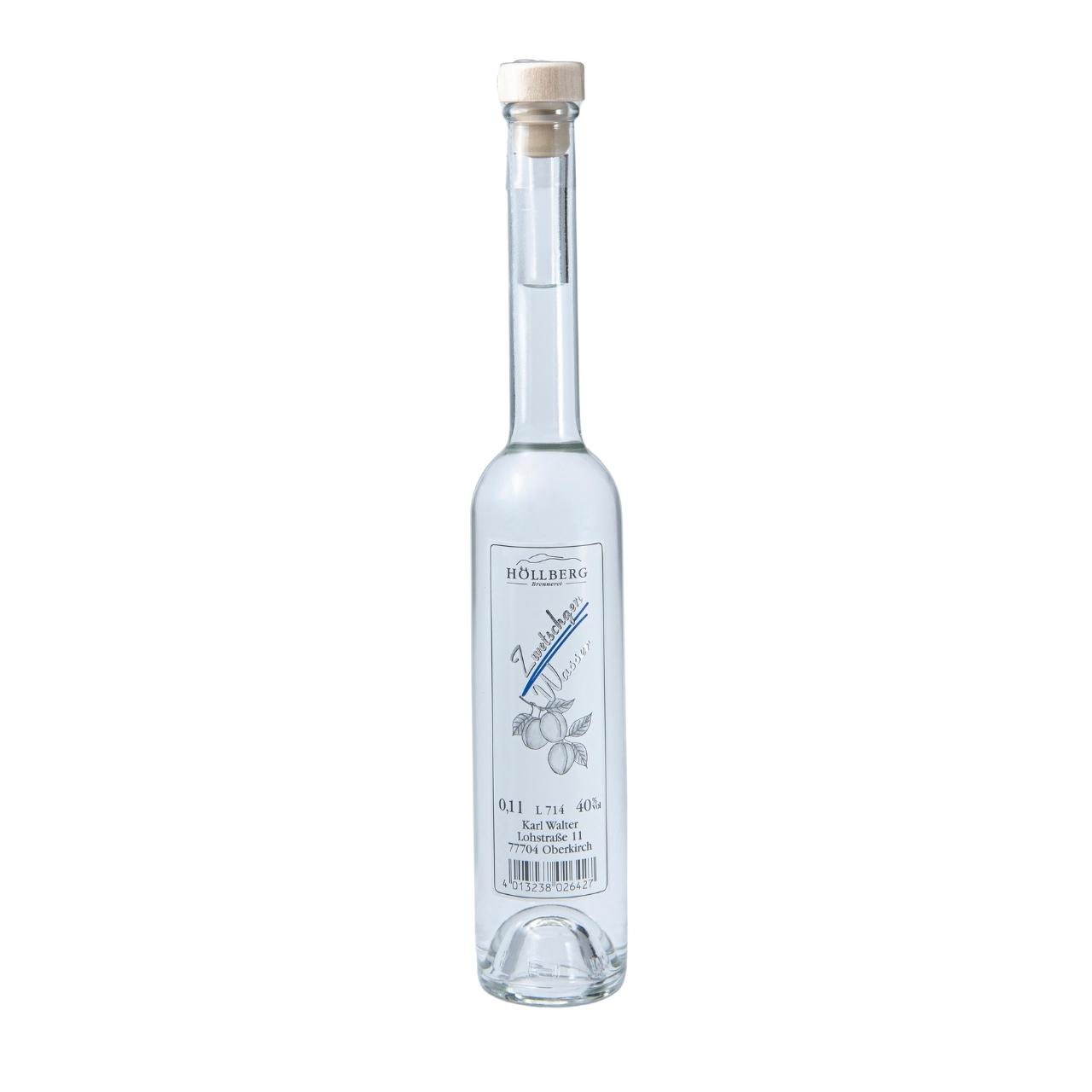 0,1 Liter Platinflasche Höllberg Zwetschgenwasser