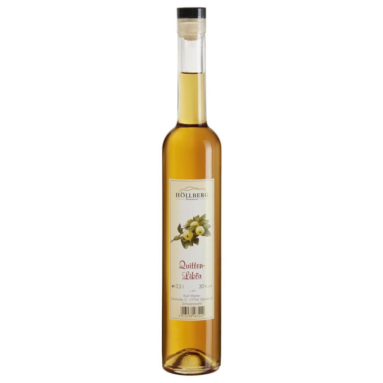 0,5 Liter Flasche Höllberg Quitten likör mit einem Alkohlgehalt von 30%