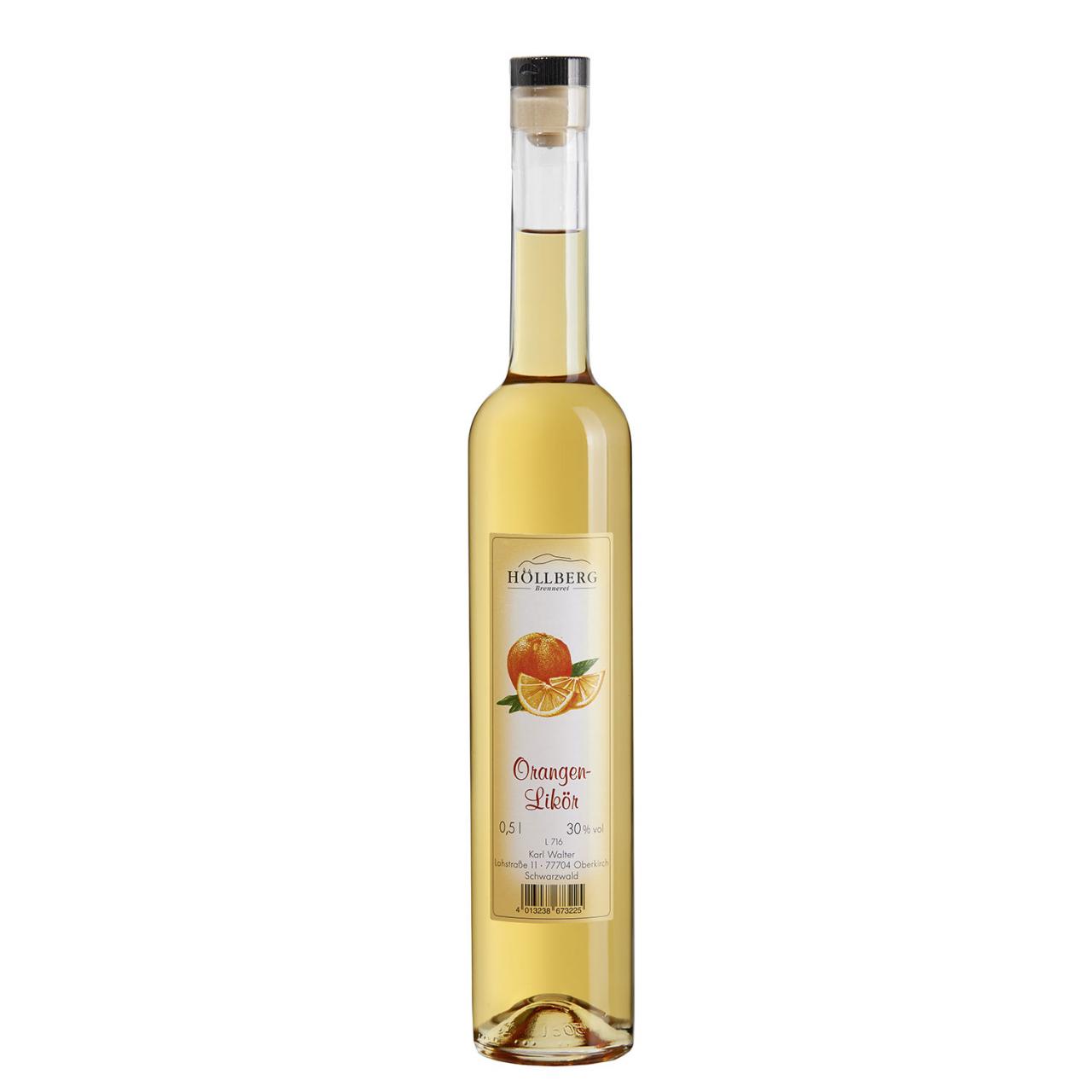 0,5 Literflasche Höllberg Ornagenlikör mit 30% vol Alkoholgehalt