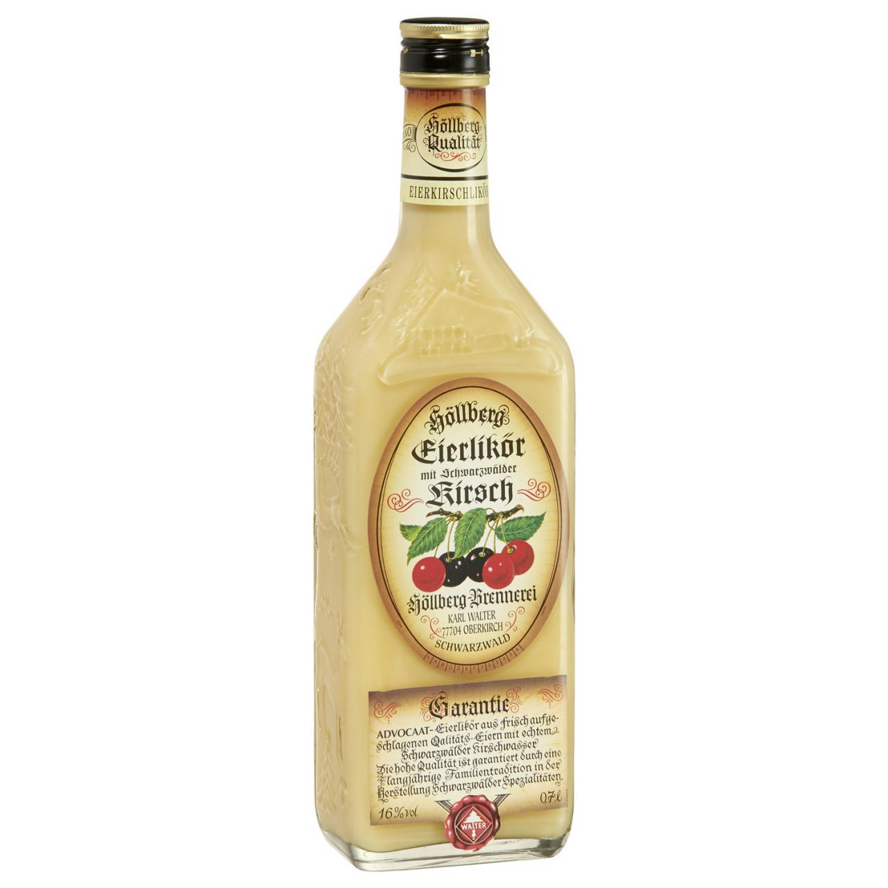0,7 Liter Flasche Höllberg Eier-Kirsch-Likör mit einem Alkoholgehalt von 16% vol.