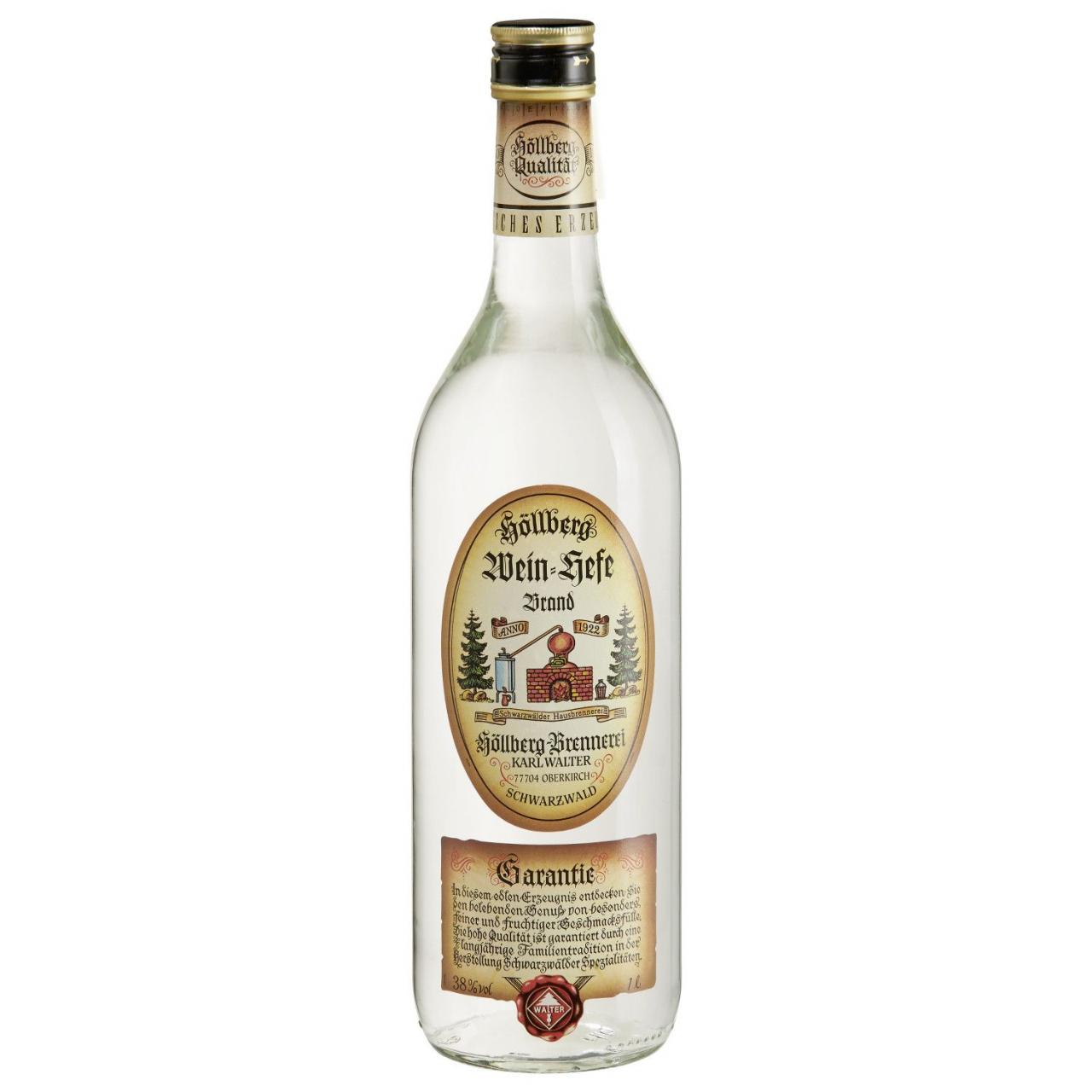 1,0 Liter Flasche Höllberg Weinhefe-Brand