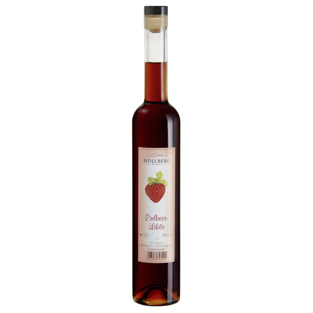 0,5 Liter Glasflasche Hoellberg Erdbeerlikör