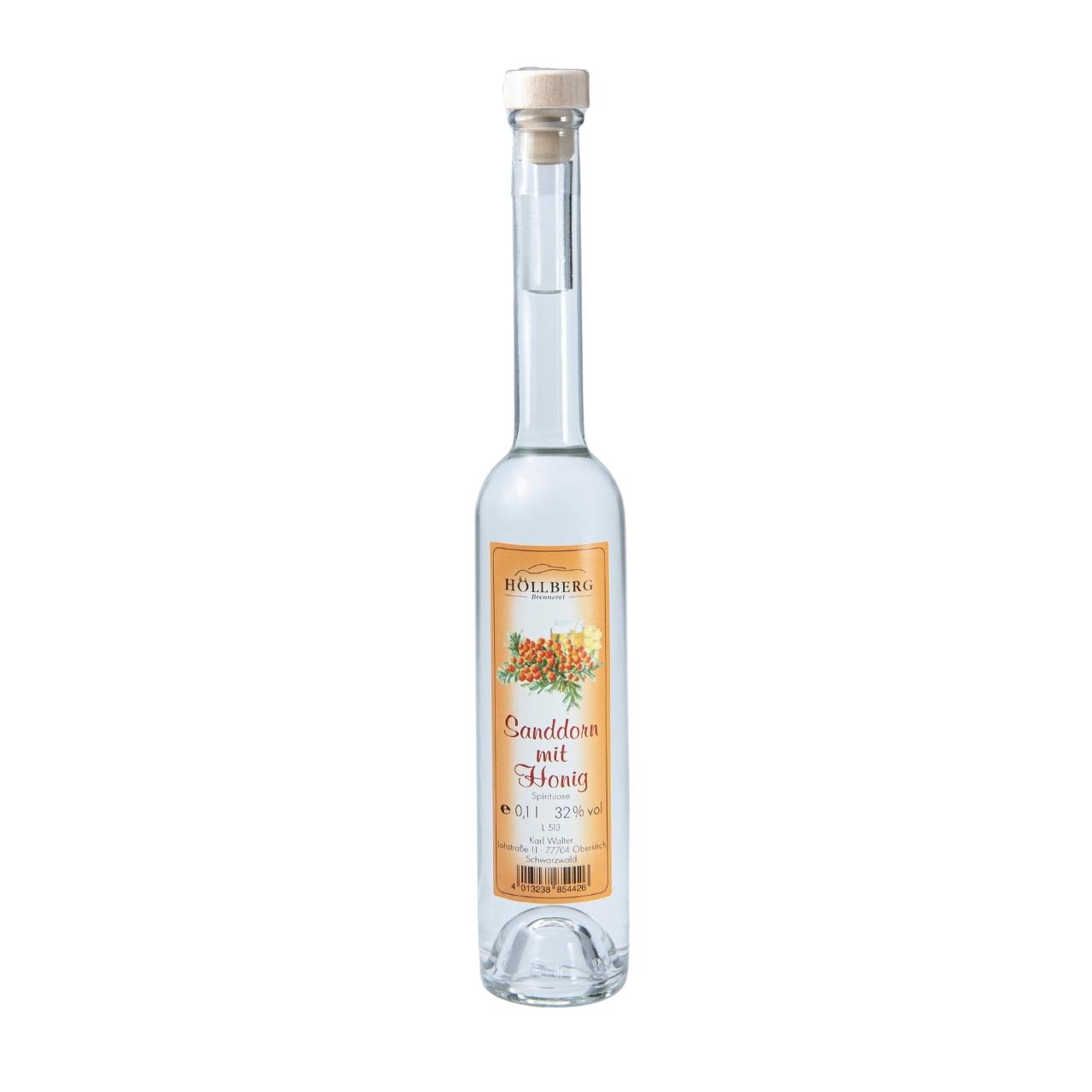 0,1 Liter Platinflasche Höllberg Sanddorn mit Honig