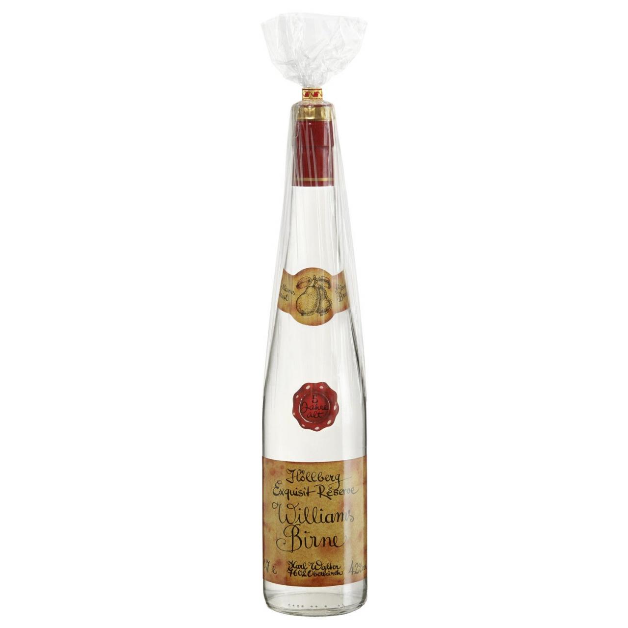 0,7 Liter Flasche Höllberg Williams Birne mit einem Alkoholgehalt von 42% vol.