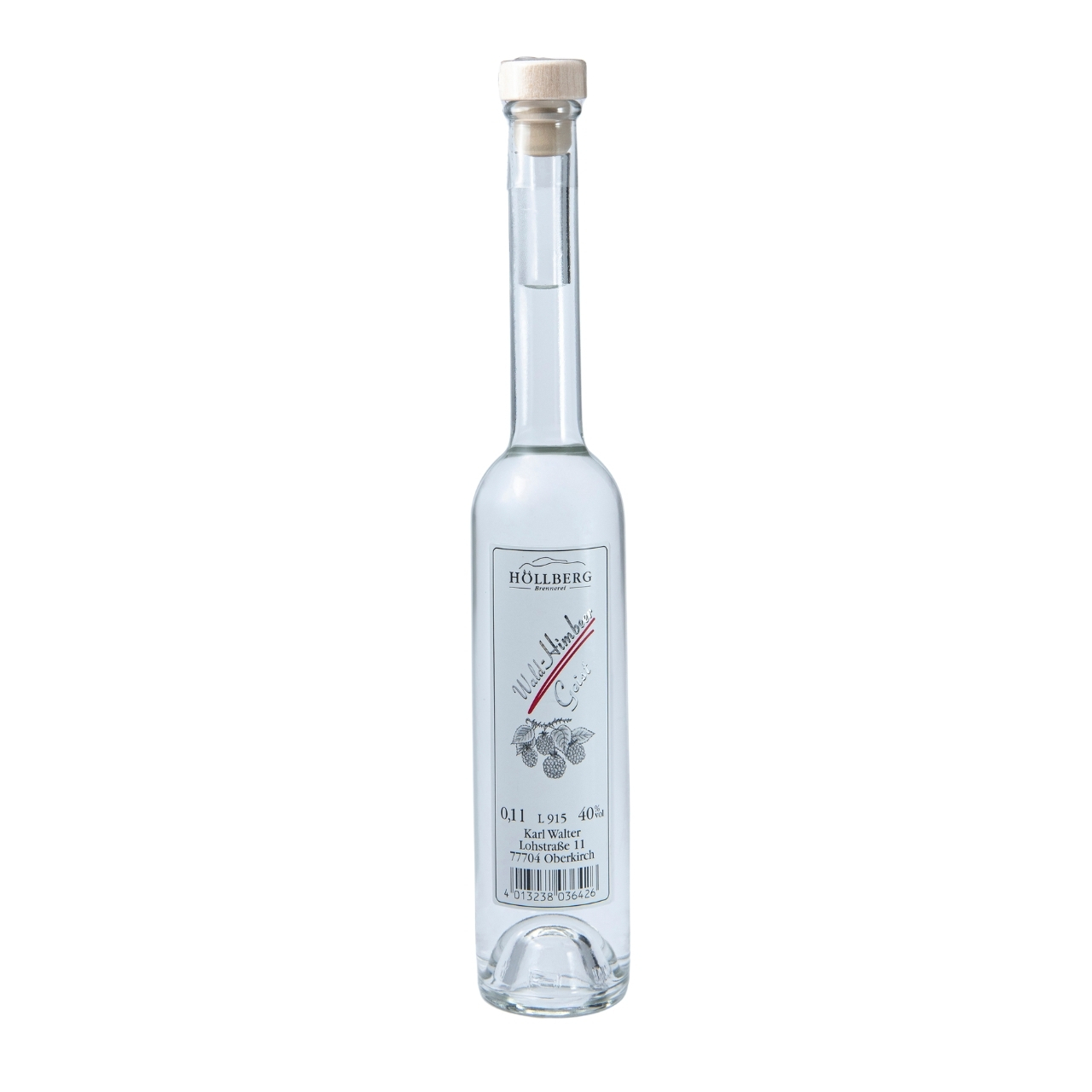 0,1 Liter Platinflasche Höllberg Wald-Himbeer-Geist