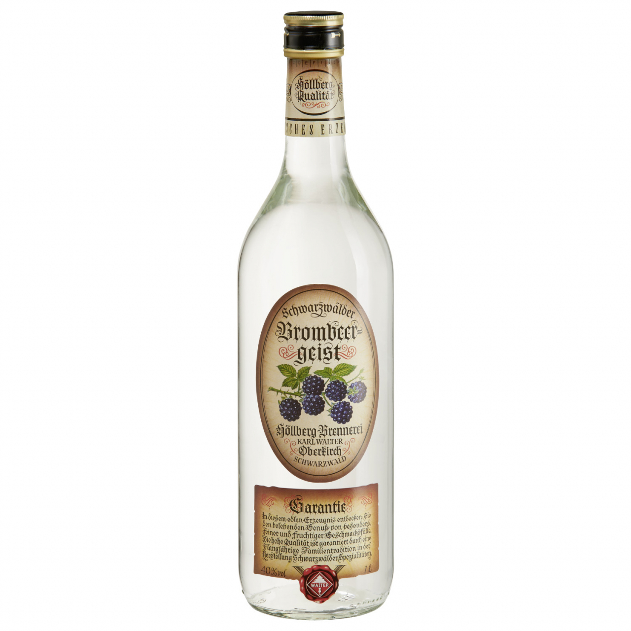 1,0 Liter Flasche Höllberg Brombeergeist