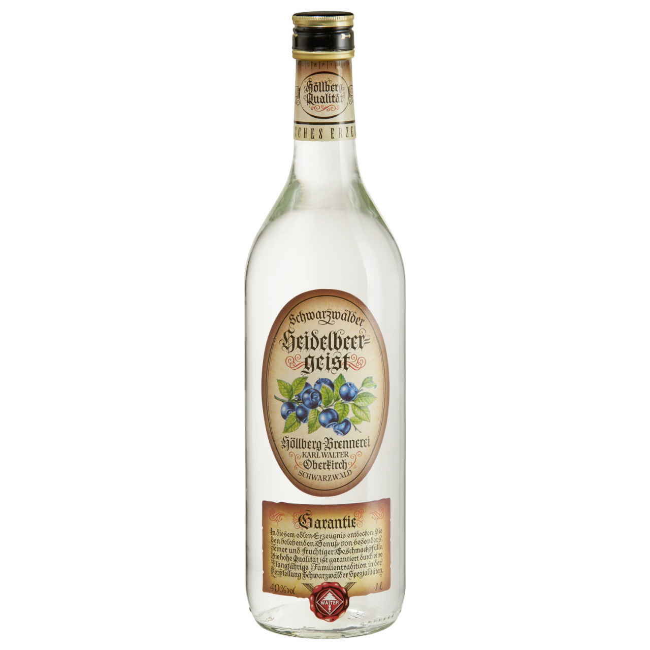 1,0 Liter Flasche Höllberg Heidelbeergeist