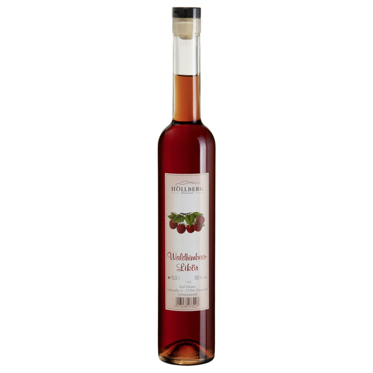 0,5 Liter Falsche Höllberg Wald-Himbeerlikör mit einem Alkoholgehalt von 30% vol