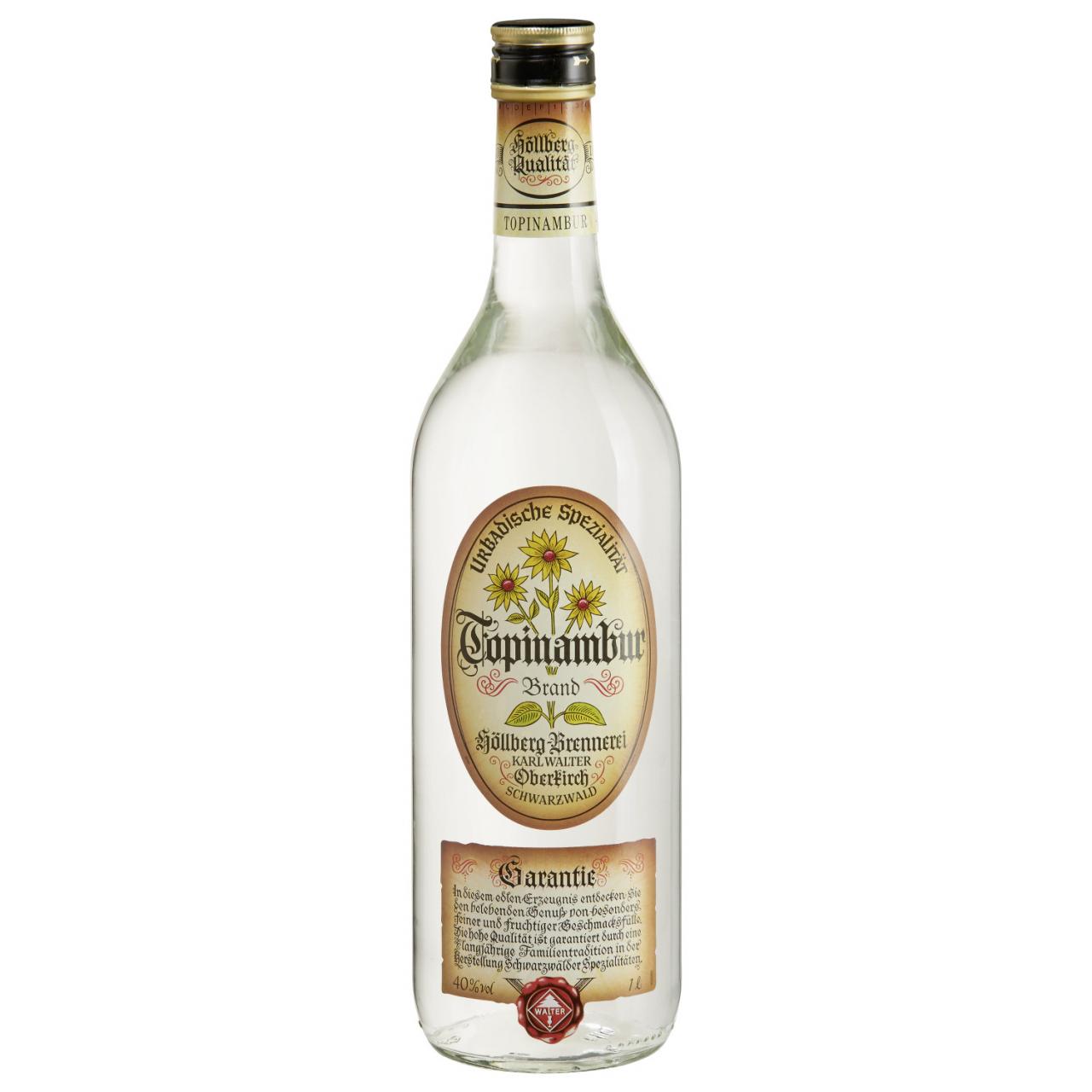 1,0 Liter Flascahe Höllberg Topnambur Brand mit einem Alkohlgehalt von 40% vol